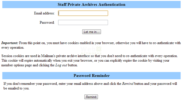 Private Mailing List Archive Password