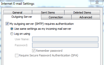 Outlook Email Settings: My outgoing server (SMTP) requires authentication