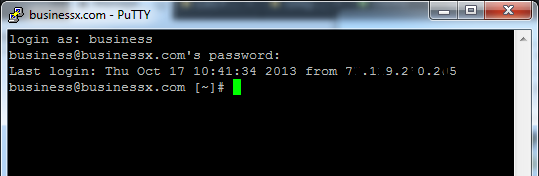 Putty ssh login