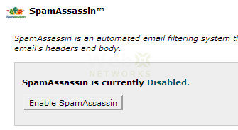 SpamAssassin is Disabled