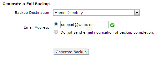 Create Backup and Store in Home Directory