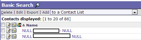 Horde Address Book Showing NULL