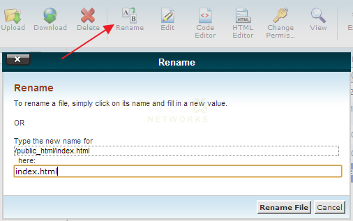 Renaming File in cPanel File Manager