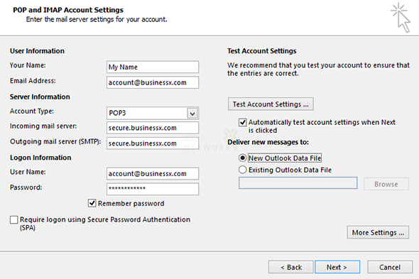 Email Settings in Microsoft Outlook 2013