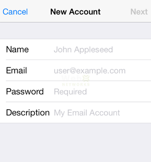 New Email Account in iPhone
