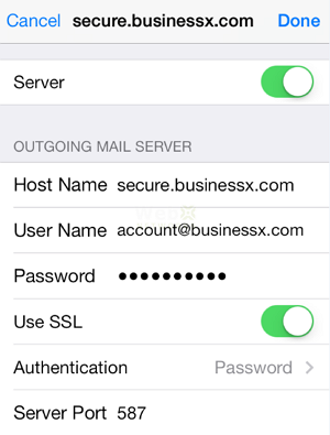 Outgoing Mail Server Settings Check in iPhone